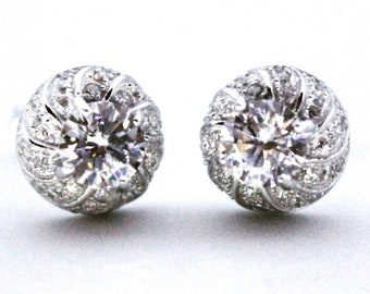 Round 14k White Gold on 925 Silver Circle Earrings