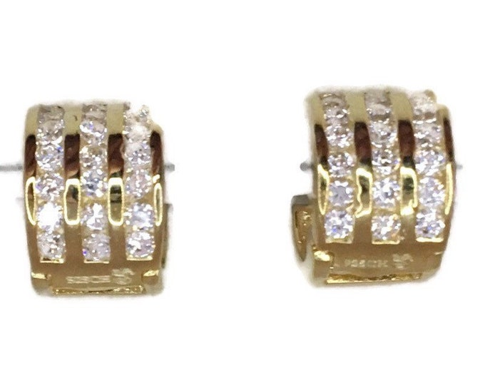 Brand New Yellow gold on 925 Silver Hoop Earrings Thick 3 rows with round Round CZ ( 10 . 2 mm )