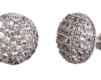 18k w gold layer on Round Circle Shaped .925 Sterling Silver Micro Pave CZ Stud Earrings