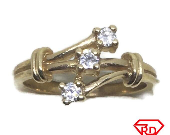 Triple branch Diamond ring 14k yellow gold S5