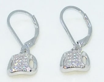 14k White Gold Layered Snout Shaped CZ on 925 Solid Sterling Silver Dangle Drop Earrings ( 9 . 0 mm )