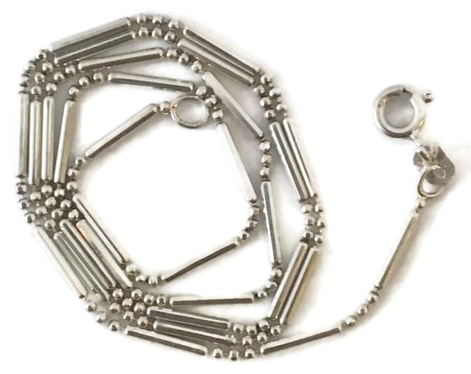 Brand New Anti-tarnish Silver Necklace chain 16 inch beads and bars with spring ring clasp