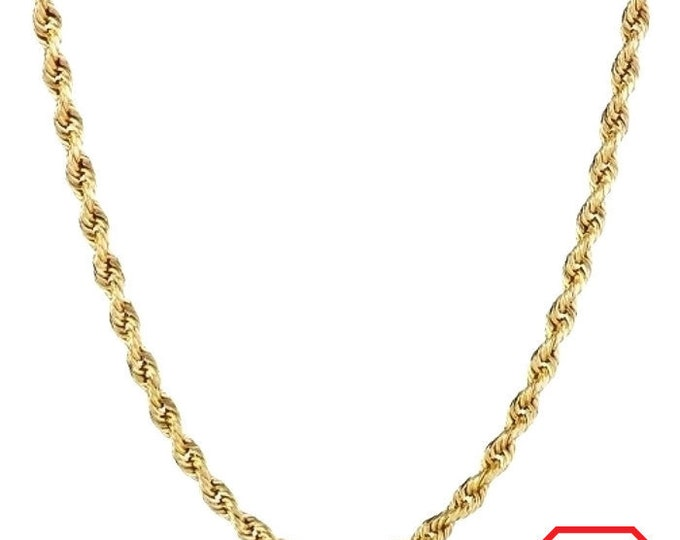 """Italian 14k yellow gold layer on .925 Sterling Silver Classic Rope Chain 1.5 MM 24 """""""