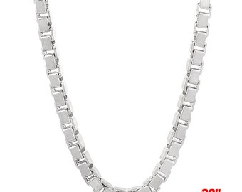 Italian 14k white gold layered over Solid .925 sterling silver -Box Chain- 3 mm- 28""