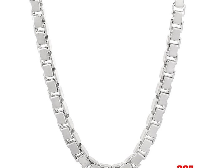 """Italian 14k white gold layered over Solid .925 sterling silver -Box Chain- 3 mm- 28"""""""
