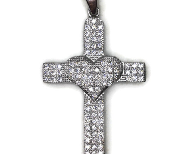 Cubic Zirconia cross with heart pendant with white gold on silver
