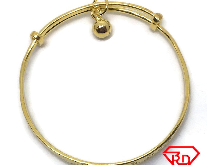 Bell charm Chinese slip in Baby Bangle .999 Yellow Gold Layer