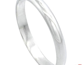 Italy 14k white gold layered on.925 silver high polished wedding band ring 2.9mm Size 10.75