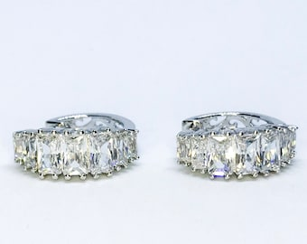 14k White Gold Layered on Sterling Silver Hoop Earring