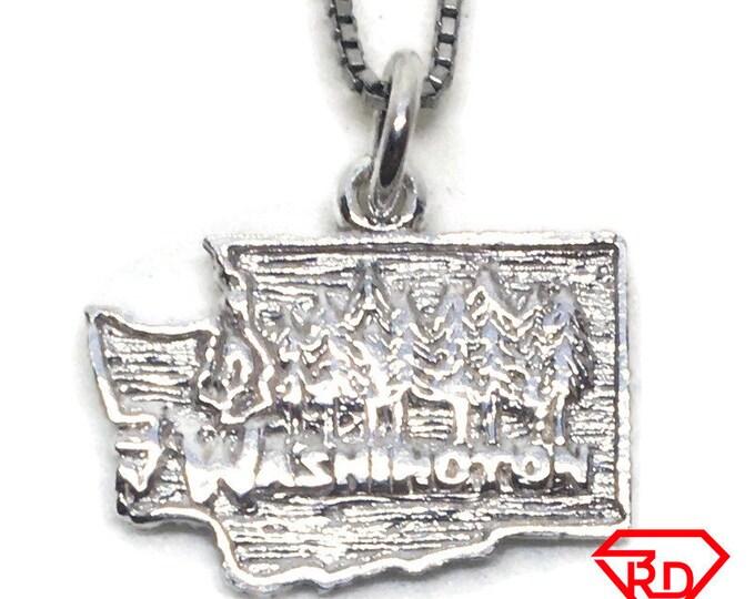 Washington State charm pendant 925 Sterling Silver