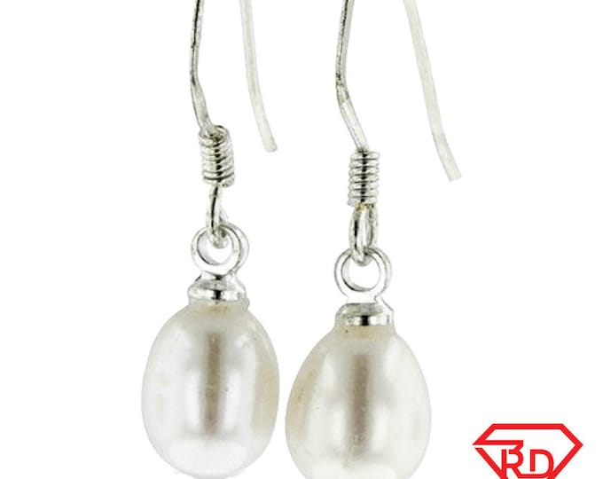 8mm White Gold Plated on Silver AAA Hanging Freshwater Pearl White Fishhook Earrings
