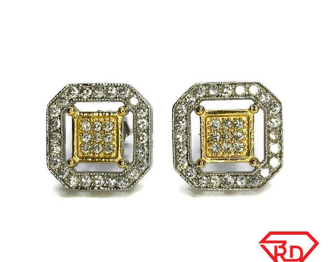 NEW Layered 14K White Gold on Sterling Silver Square with Gold Color Stud Earrings