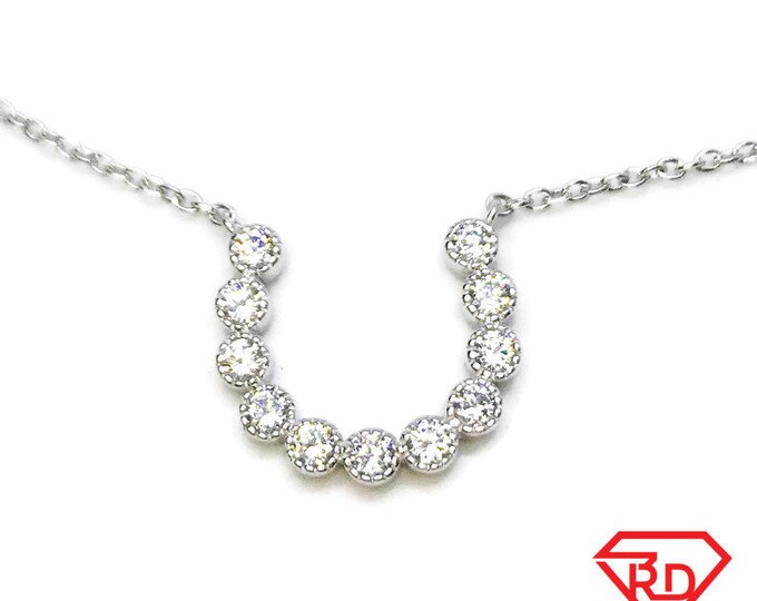 """NEW 14k White Gold Layer On 925 Sterling Silver Horseshoe Link Necklace 0.8 mm - 18"""""""