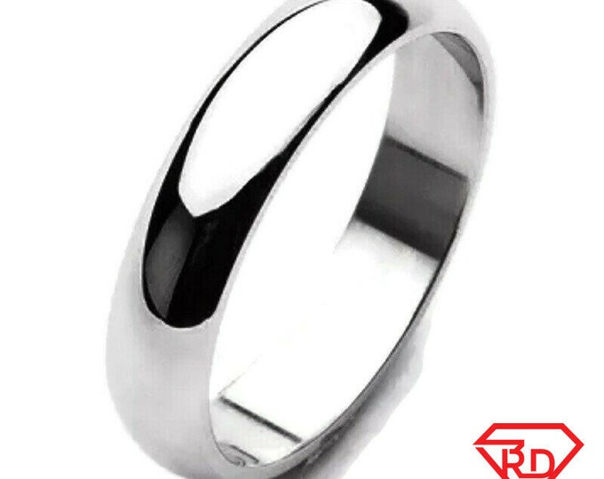 4 mm size 8 . 5 - handmade solid 990 silver high polished glossy plain wedding ring band