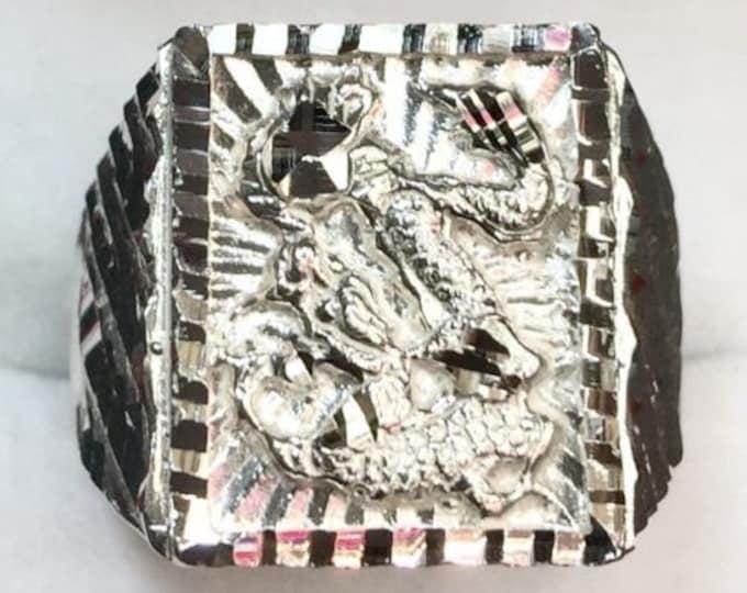 New handmade big wide heavy asian chinese diamond cut design dragon ring band s8