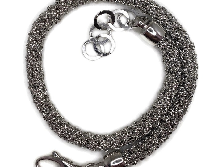 Tiny chain bundle bracelet 8 inch white gold on silver