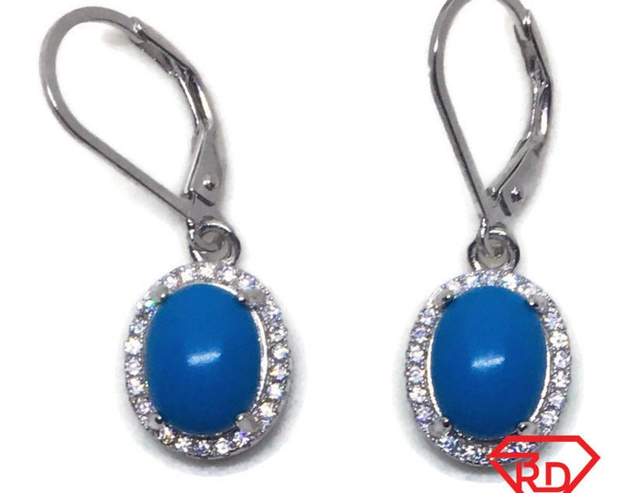 White gold on Silver dangle drop oval Earrings white CZ & blue stone