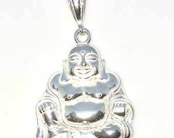 Brand New 925 Solid Sterling Silver Large Pendant with Fat buddha Budai
