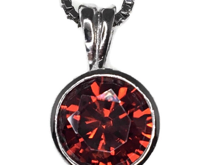 Garnet January Birthstone Pendant round Cubic Zirconia and white gold