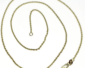 Brand New Yellow Gold on 925 Solid Sterling Silver 18 inch Thin Diamond cut Cable Chain Necklace with Lobster Claw clasp