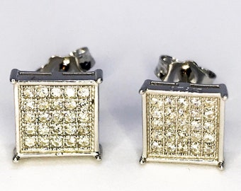 Pretty Sterling Silver Square Earrings