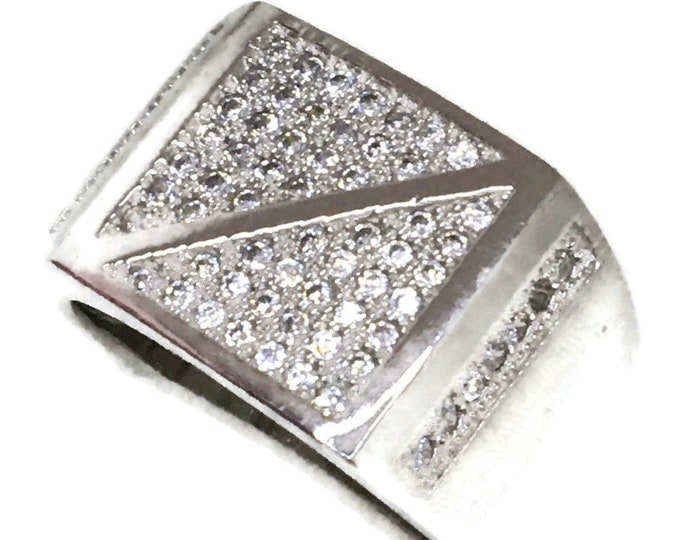 Cubic Zirconia ring double triangle white gold on Silver ( size 9 )