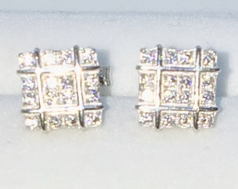 Brand New White Gold on 925 Solid Sterling Silver 4 by 4 Square white round CZ studs Earrings ( 7 . 7  mm )