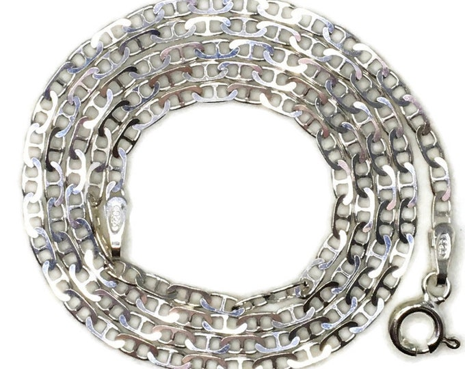 thin small mariner chain 16 inch anti-tarnish silver necklace