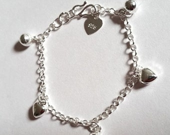 Sweet hearts & ball bell dangling 925 sterling silver charms baby girl bracelet