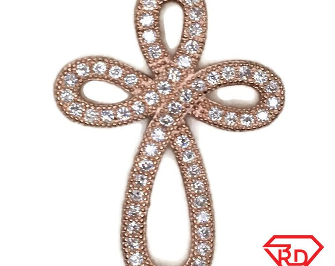 Rose Gold on Silver Pendant Smooth Curve Cross with round white CZ