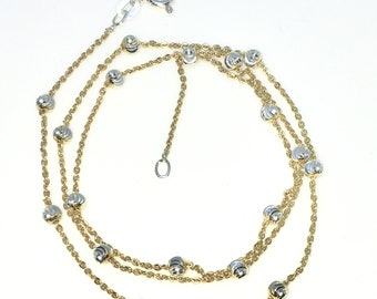 New Yellow Gold Layered 925 Solid Sterling Silver 18 inch Diamond Cut Silver beads & Cable Chain Necklace with springring clasp