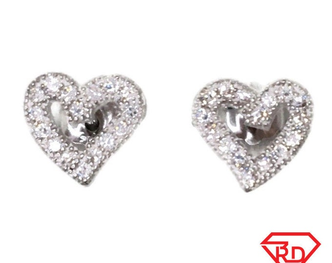 Brand New white gold on 925 Silver Studs Earrings Small Hollow Heart with white round CZ ( 7 . 6 mm )