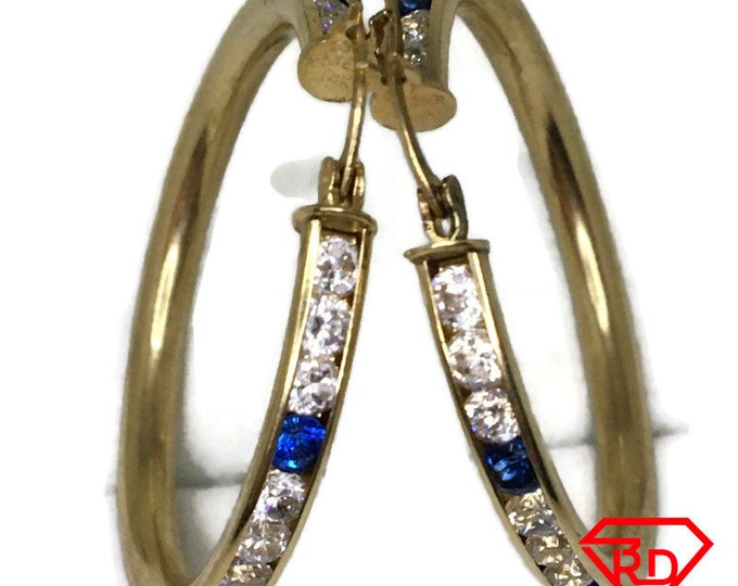 14K blue Cubic Zirconia Hoop Earrings of yellow gold
