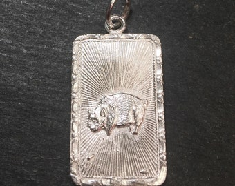 """New 925 silver Reversible Design Chinese character writing """"Happiness """" &  Pig Zodiac Charm Pendant"""