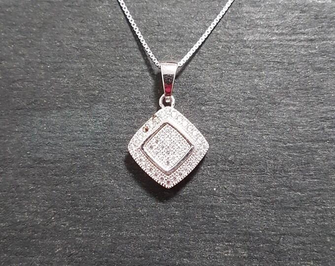 New 14k White Gold On 925 Diamond Shape Overlap Pendant Charm