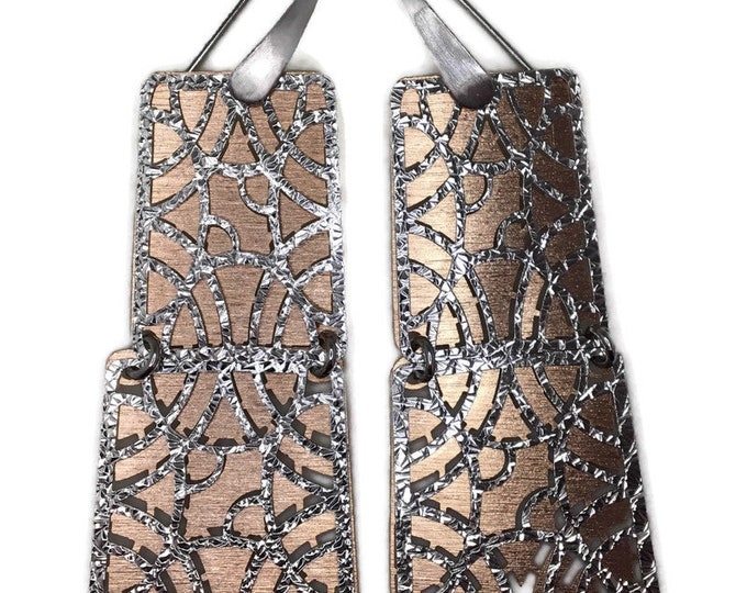 Dangle Drop earrings artistic rectangle 2 tone gold on silver