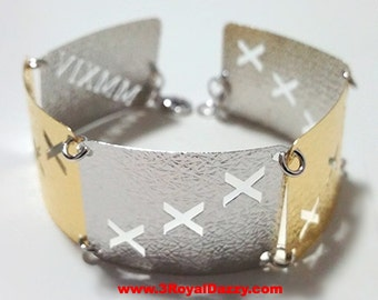 14k Y & W Gold Layer on 925 Silver Bracelet - 3RoyalDazzy.com Handmade Exclusive- 6