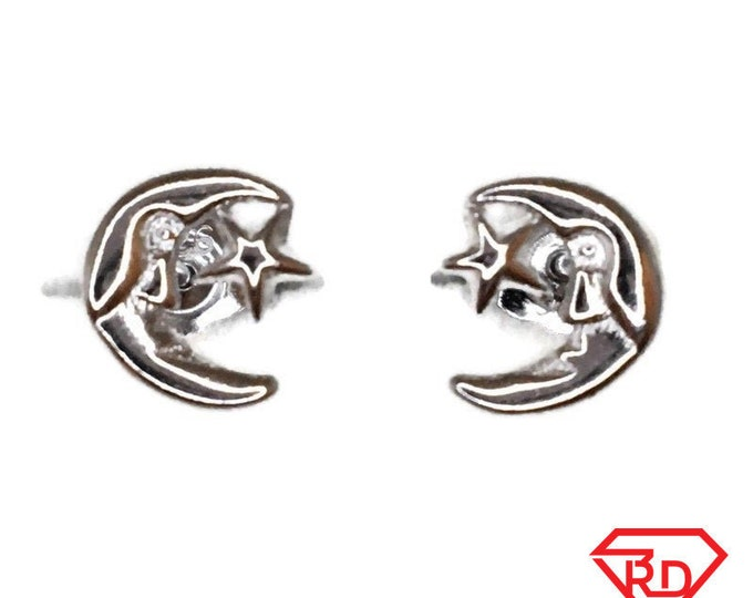 Brand New white gold on 925 Silver Studs Earrings Cute litte Star and Crescent Moon ( 7 . 2 mm )