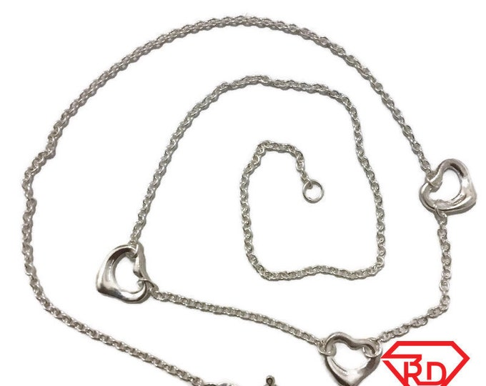 Brand New Anti-Tarnish Silver Necklace 16 inch cable chain and hearts with spring ring clasp