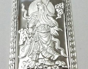 XL- Lord Guan Yu / Guan Gong God of War 999 fine solid Silver Rectangle Pendant charm