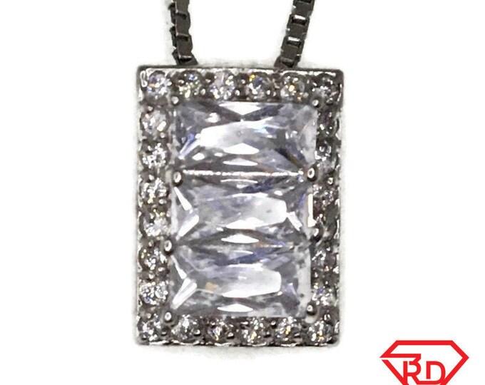 White Gold layer Silver Pendant rectangle & white round emerald CZ