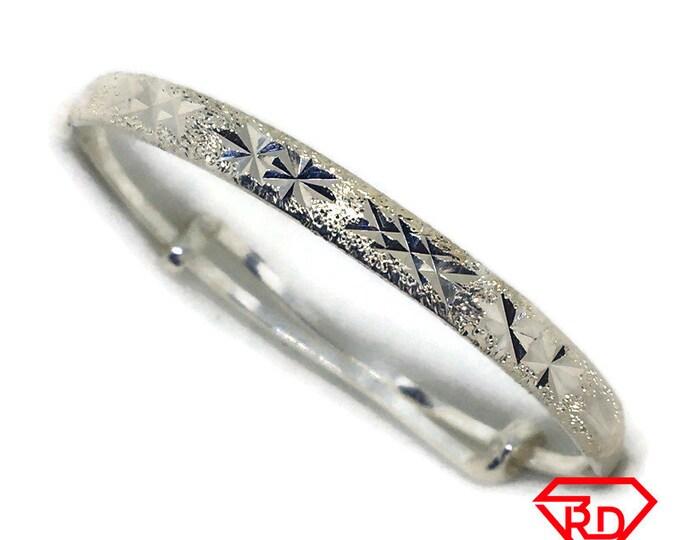 diamond cut Baby Toddler Bangle Bracelet 925 Silver