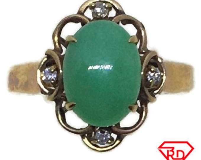Handcraft 14k diamond and light green jade flower ring S5