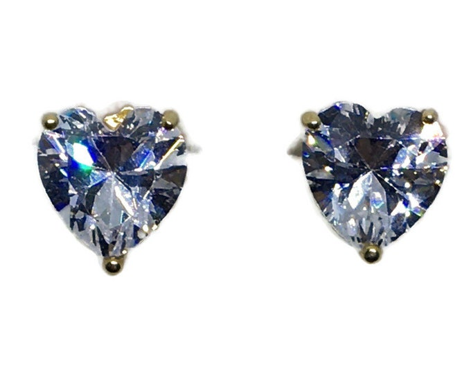 3 prong heart white CZ yellow gold on Silver studs Earrings