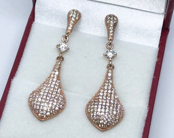 14k Rose Gold Layered on Sterling Silver Dangling Earrings
