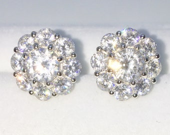 Brand New White Gold on 925 Solid Sterling Silver Eight Petal Flower with Large white round CZ studs Earrings ( 12 . 3 mm )