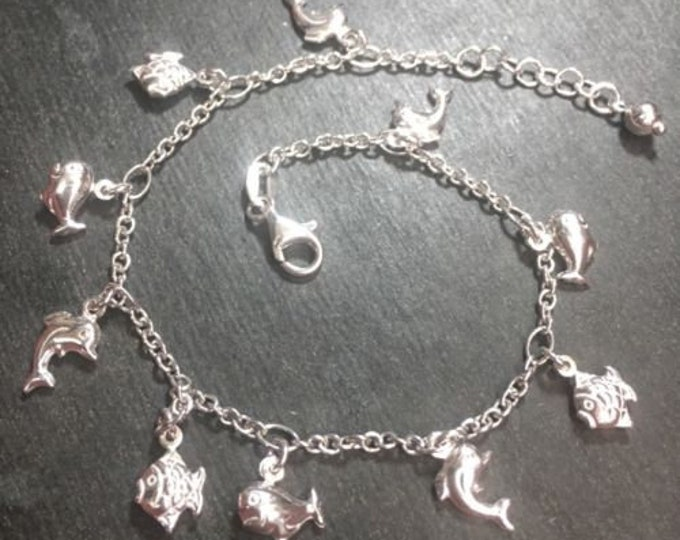 """New silver dangling dolphin whale fish sea animal charm anklet link 1.5mm-10"""""""