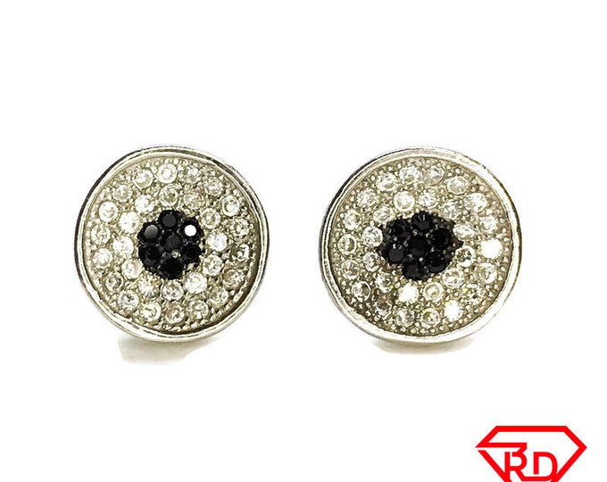 NEW 14K White Gold on .925 Sterling Circle with Black Dot Stones Stud Earrings