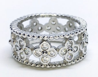 NEW 14K White Gold Layered on Sterling Silver Flower Design on Stones Ring