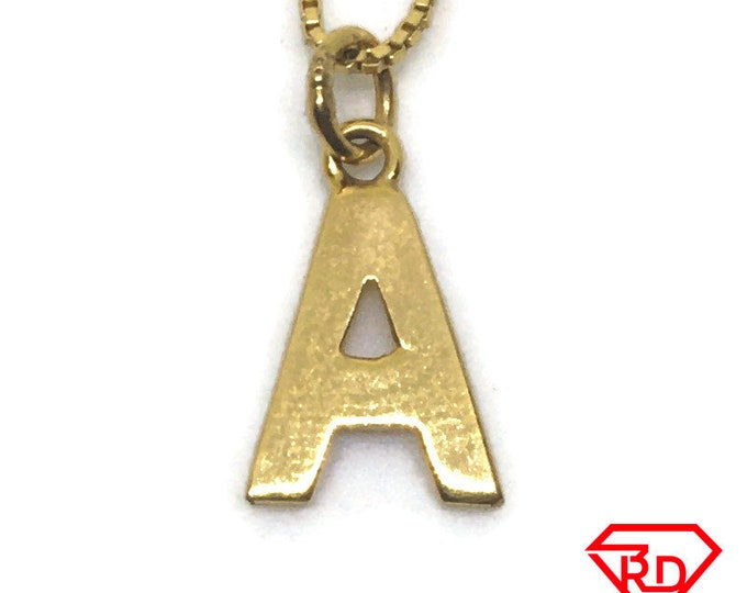 Block Letter A charm pendant 18k Yellow gold